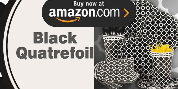 Black Quatrefoil Party Supplies