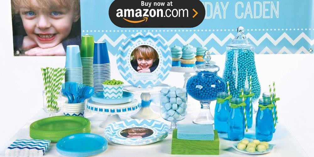 Chevron Blue Personalized Party Supplies