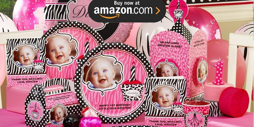 Diva Zebra Print 1st Birthday Personalized Party Supplies
