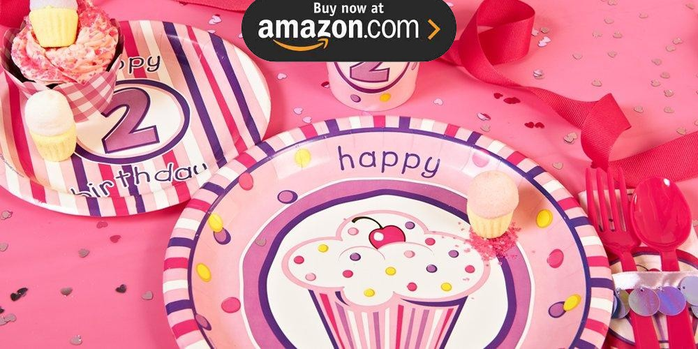 Girls Lil Cupcake 2nd Birthday Party Supplies