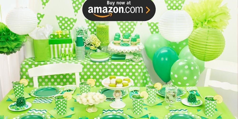 Green and White Dots Party Supplies