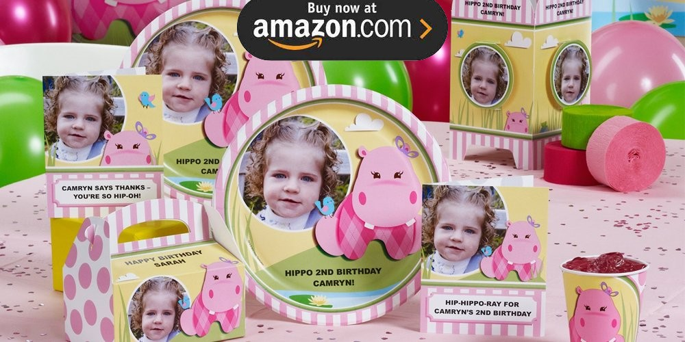 Hippo Pink Personalized Party Supplies