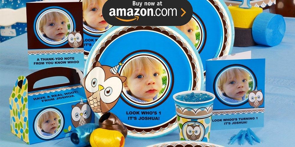 Look Whoos 1 Blue Personalized Party Supplies