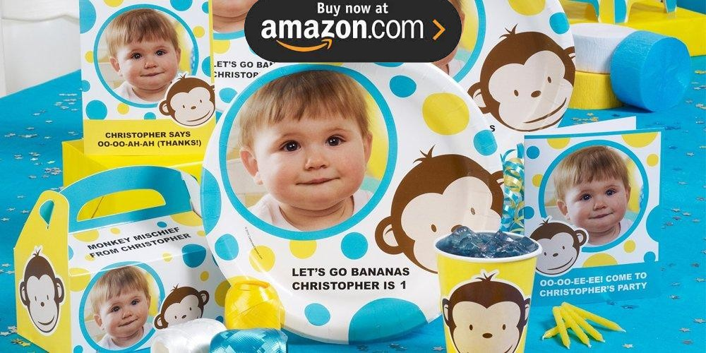 Mod Monkey Blue Personalized Party Supplies