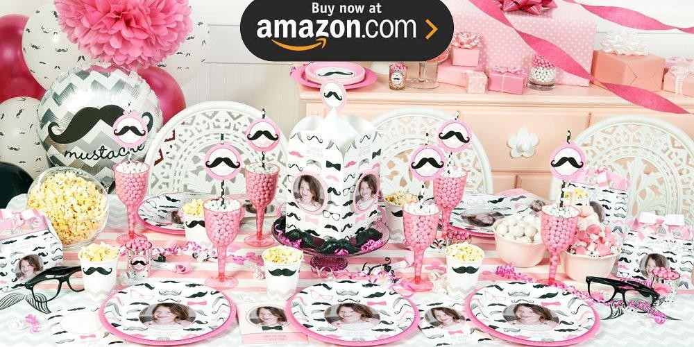 Pink Mustache Personalized Party Supplies