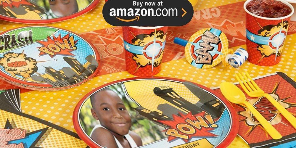 Superhero Comics Personalized Party Supplies