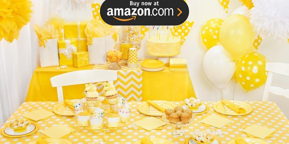 Yellow and White Dots Party Supplies