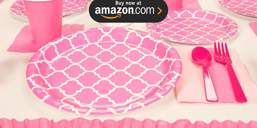 Candy Pink Quatrefoil Party Supplies