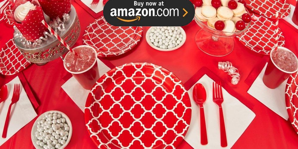Classic Red Quatrefoil Party Supplies