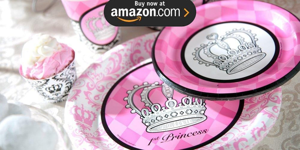 Elegant Princess Damask 1st Birthday Party Supplies