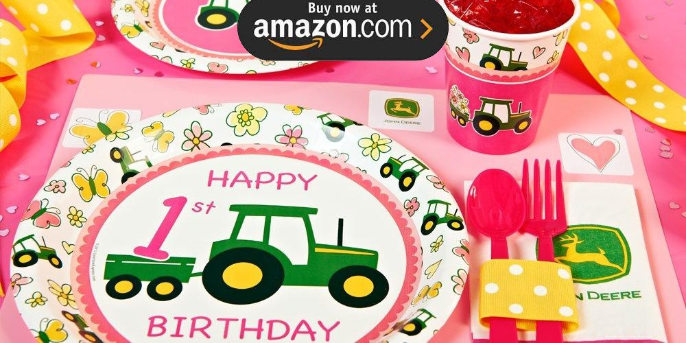 John Deere Pink 1st Birthday Party Supplies