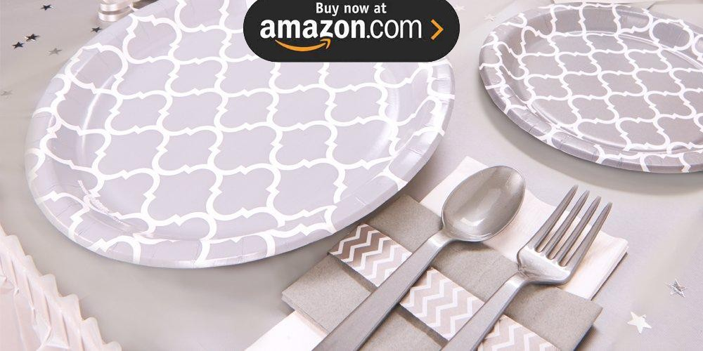 Medium Gray Quatrefoil Party Supplies
