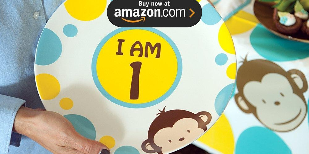 Mod Monkey Blue 1st Birthday Party Supplies