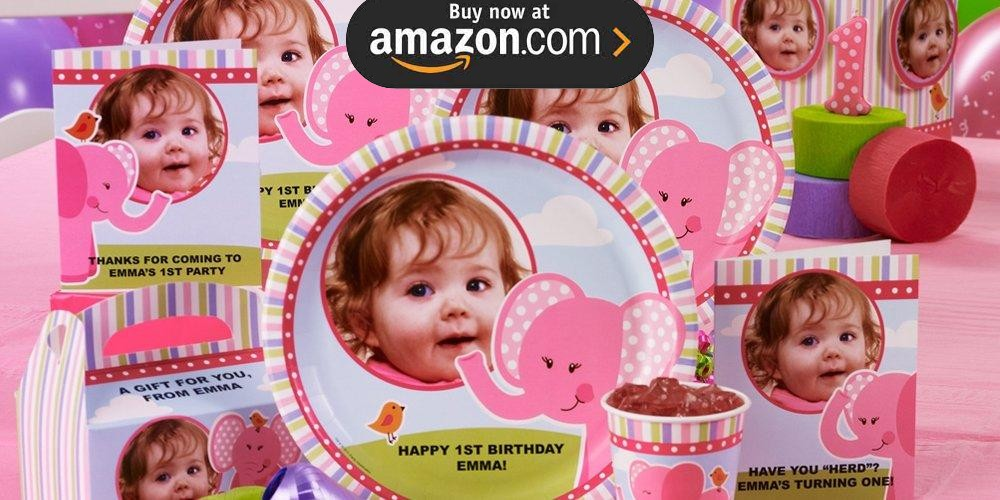Pink Elephants 1st Birthday Personalized Party Supplies