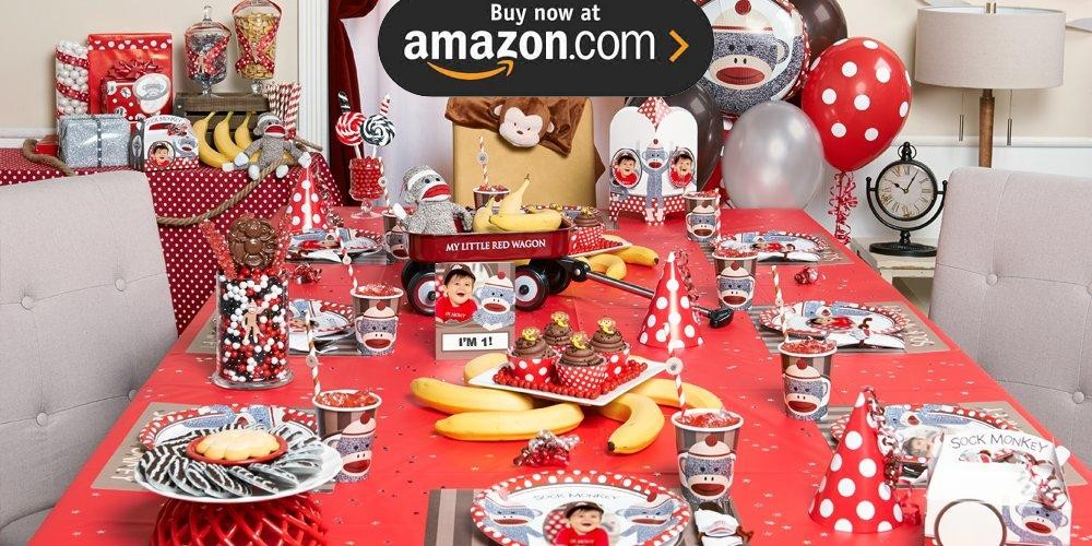 Sock Monkey Red 1st Birthday Personalized Party Supplies