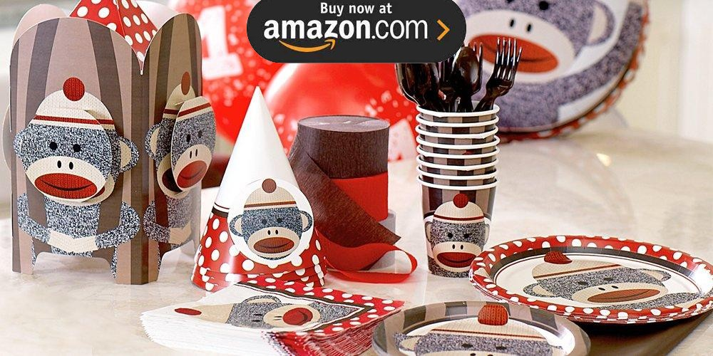 Sock Monkey Red 1st Birthday Party Supplies