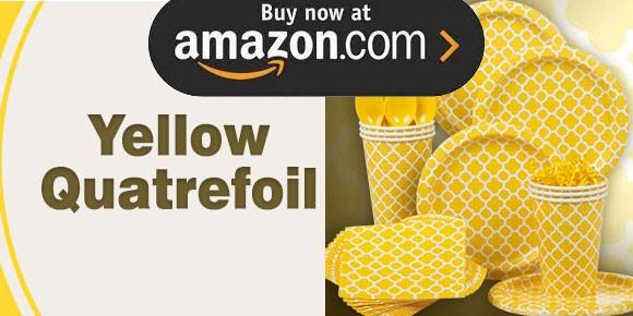 Yellow Quatrefoil Party Supplies